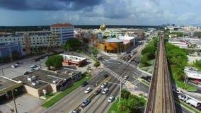 Vídeo da antena do lugar do por do sol de Miami video estoque