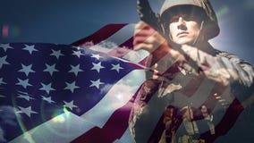 Vídeo da bandeira americana video estoque