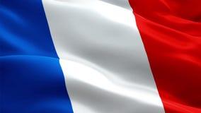 Vídeo da bandeira de França que acena no vento Fundo francês realístico da bandeira Metragem completa dando laços do close up 108