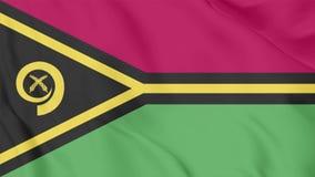 Vídeo da bandeira ondulada realística de Vanuatu com laços sem emenda do fundo de ondulação ilustração stock