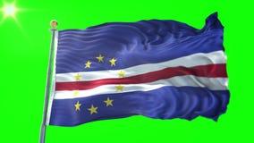 Vídeo de colocación inconsútil de la representación 3D de la bandera de Cabo Verde El agitar hermoso del lazo de la tela del paño metrajes