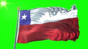 Vídeo de colocación inconsútil de la representación 3D de la bandera de Chile El agitar hermoso del lazo de la tela del paño de l almacen de video