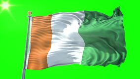 Vídeo de colocación inconsútil de la representación 3D de la bandera de Costa de Marfil de Ivoire del ` de Cote d El agitar hermo libre illustration