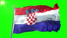 Vídeo de colocación inconsútil de la representación 3D de la bandera de Croacia El agitar hermoso del lazo de la tela del paño de almacen de metraje de vídeo