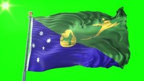 Vídeo de colocación inconsútil de la representación 3D de la bandera de la Isla de Navidad El agitar hermoso del lazo de la tela  almacen de metraje de vídeo