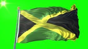 Vídeo de colocación inconsútil de la representación 3D de la bandera de Jamaica El agitar hermoso del lazo de la tela del paño de libre illustration