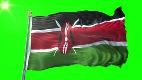 Vídeo de colocación inconsútil de la representación 3D de la bandera de Kenia El agitar hermoso del lazo de la tela del paño de l stock de ilustración