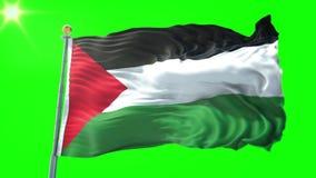 Vídeo de colocación inconsútil de la representación 3D de la bandera de Palestina El agitar hermoso del lazo de la tela del paño  stock de ilustración