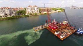 Vídeo de dragado de la antena de Miami almacen de metraje de vídeo