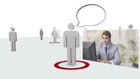 Vídeo de hombres de negocios al lado de siluetas almacen de metraje de vídeo