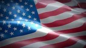 Vídeo de la bandera americana vídeo de la bandera de 3d que agita Estados Unidos Muestra de la animación inconsútil del lazo de l stock de ilustración