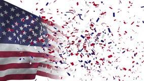 Vídeo de la bandera americana y del confeti stock de ilustración
