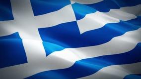 Vídeo de la bandera de Grecia que agita en viento Fondo griego realista de la bandera Cantidad completa de colocación del primer  ilustración del vector