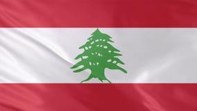 Vídeo de la bandera ondulada realista de Líbano con los lazos inconsútiles del fondo que agita