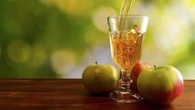 Vídeo de la cámara lenta del zumo de manzana que vierte en el vidrio en fondo natural almacen de video
