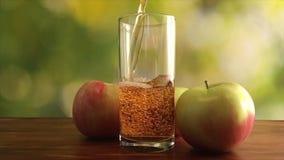Vídeo de la cámara lenta del zumo de manzana verde que vierte en el vidrio en fondo verde almacen de video