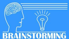 Vídeo de la reunión de reflexión con la cabeza, cerebro, bombilla que destella, flechas animadas Dibujo de esquema blanco útil co ilustración del vector