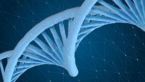 Vídeo de movimiento giratorio de la DNA con el fondo científico libre illustration