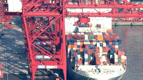 Vídeo de Timelapse de un cargamento del buque de carga en un puerto del cargo