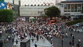 Vídeo de Timelapse del flujo de tráfico y de paso de peatones la intersección famosa de Shibuya en Tokio, Japón almacen de metraje de vídeo