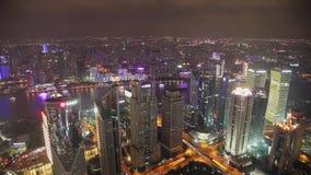 Vídeo de Timelapse de Shangai CBD en la noche almacen de metraje de vídeo
