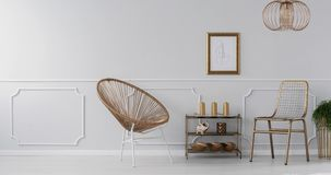Vídeo de um ouro, interior elegante da sala de visitas com um desenho na parede cinzenta com molde video estoque