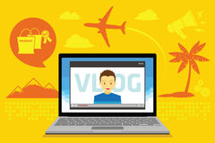 Vídeo de Vlog que blogging Imagem de Stock