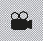 Vídeo del foto de la cámara del icono del vector en fondo transparente fotografía de archivo libre de regalías