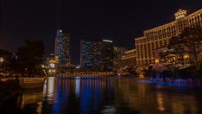 Vídeo del lapso de tiempo de la demostración de la luz y del agua del hotel de Bellagio almacen de video