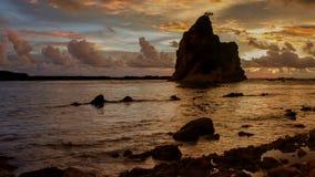 Vídeo del lapso de tiempo en la playa rocosa al mediodía metrajes