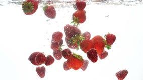 Vídeo del primer de fresas frescas y de frambuesas maduras que caen y que salpican lentamente en agua clara almacen de metraje de vídeo
