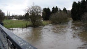 Vídeo del río Dearne en la inundación el 3 de abril de 2018 Wath sobre Dearne, Rother almacen de metraje de vídeo