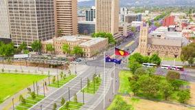 vídeo del timelapse 4k del centro de la ciudad en Adelaide, Australia almacen de metraje de vídeo