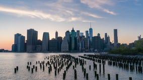 vídeo del timelapse 4k del horizonte de Manhattan almacen de video
