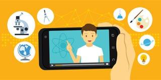 Vídeo del tutorial y de la educación del elearning vía smartphone móvil Fotografía de archivo