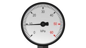 Vídeo do calibre de pressão isolado do vapor - funcionamento do manômetro animação 4K filme