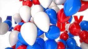 vídeo do cgi 3D dos balões coloridos que voam sobre cumprimentos com 4o julho Animação perfeita para o Dia da Independência dos E ilustração do vetor