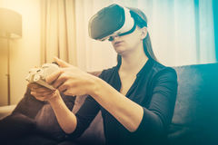 Vídeo do jogo do jogo do jogo na tevê ou no monitor Conceito do Gamer Imagem de Stock Royalty Free