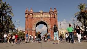 Vídeo do lapso de tempo de Arco de Triumf, Barcelona, Espanha, 15 Em outubro de 2017 vídeos de arquivo