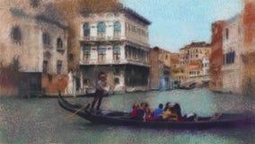 Vídeo do stylization da pintura a óleo da gôndola em um canal em Veneza, Itália filme