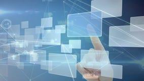 Vídeo generado Digital de la empresaria que usa la pantalla del interfaz ilustración del vector