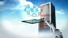 Vídeo generado Digital de la tableta digital robótica blanca de la tenencia de brazo con el icono computacional de la nube ilustración del vector