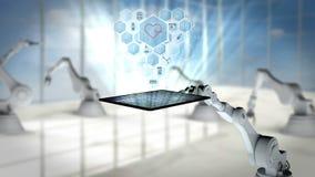 Vídeo generado Digital de la tableta digital robótica blanca de la tenencia de brazo con los iconos médicos stock de ilustración