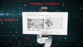 Vídeo generado Digital de la tarjeta robótica blanca de la tenencia de brazo con concepto de la investigación libre illustration