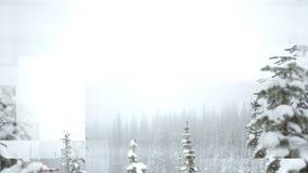 Vídeo gerado Digital de árvores cobertos de neve video estoque