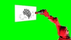 Vídeo gerado Digital do cartão robótico da terra arrendada de braço com diagrama da máquina ilustração do vetor