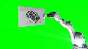 Vídeo gerado Digital do cartão robótico da terra arrendada de braço com diagrama da máquina ilustração royalty free