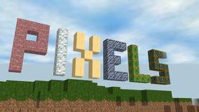 Vídeo gerado mundo do pixel do cubo ilustração royalty free
