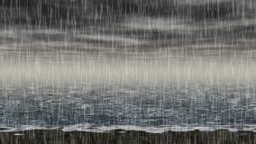 Vídeo inconsútil del lazo del paisaje lluvioso del mar ilustración del vector