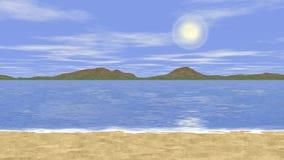 Vídeo inconsútil del lazo del paisaje soleado del mar ilustración del vector